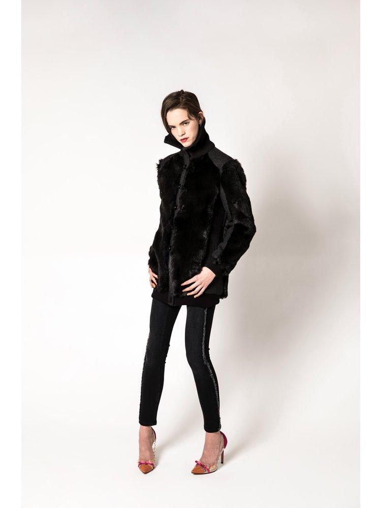 coat made of wool and vegan fur