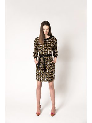 dress with print and bow belt