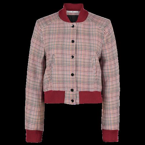 checkered wool bomber jacket
