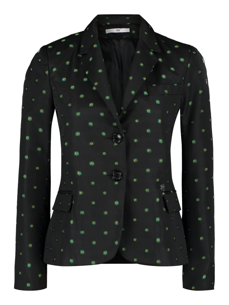 blazer with woven floral motif