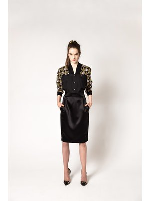 pencil skirt with gloss