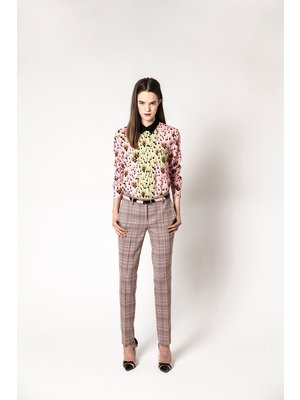 wool flared trousers with checks