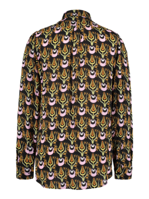fitted blouse with puff sleeves and print