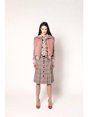 checkered wool coat