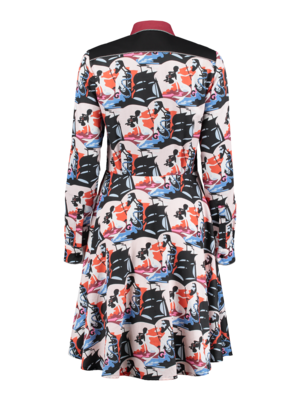 waisted dress in with print