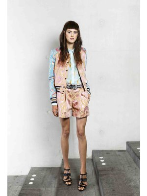 bomber jacket with glossy jaquard