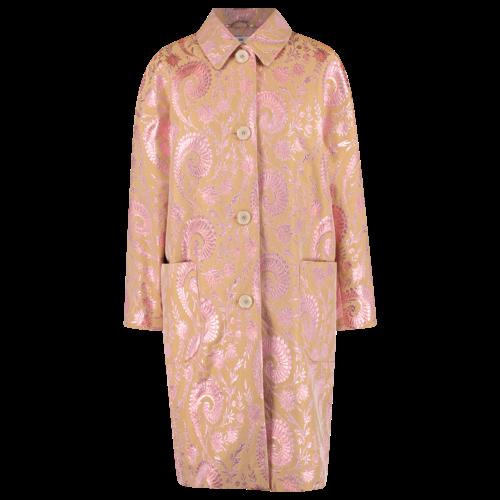 oversized pink coat in shiny jacuard