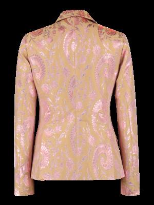 pink blazer in shiny jacquard
