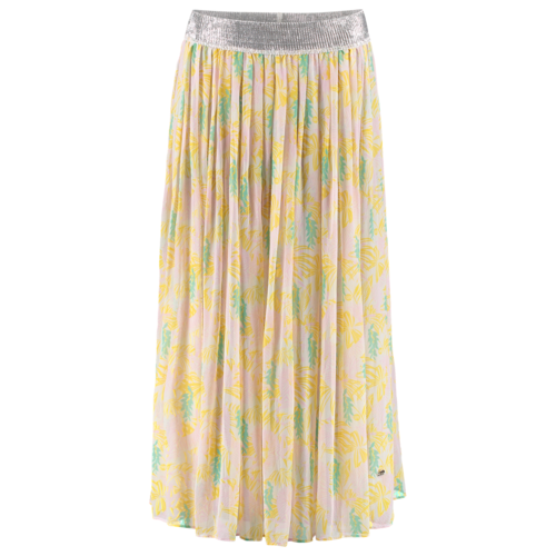 transparent silk skirt with print