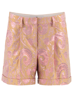 pink jacquard pleated shorts