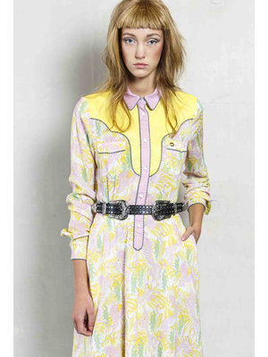 fitted dress in western style and print.