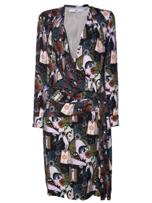 draped dress with print