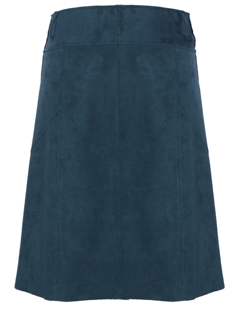 full-button suede skirt