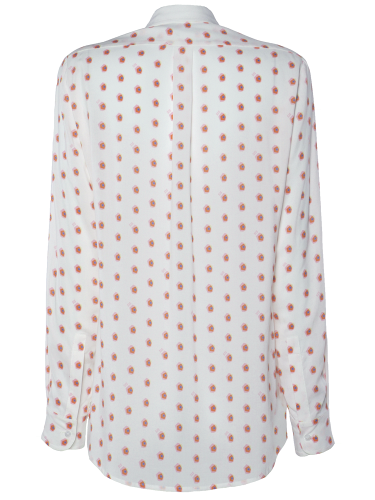 blouse with print and hourglass detail