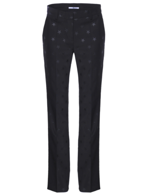 long flair trousers with woven star motif