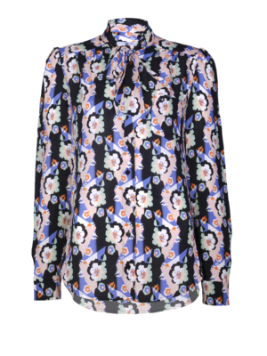 blouse with flower print and bow