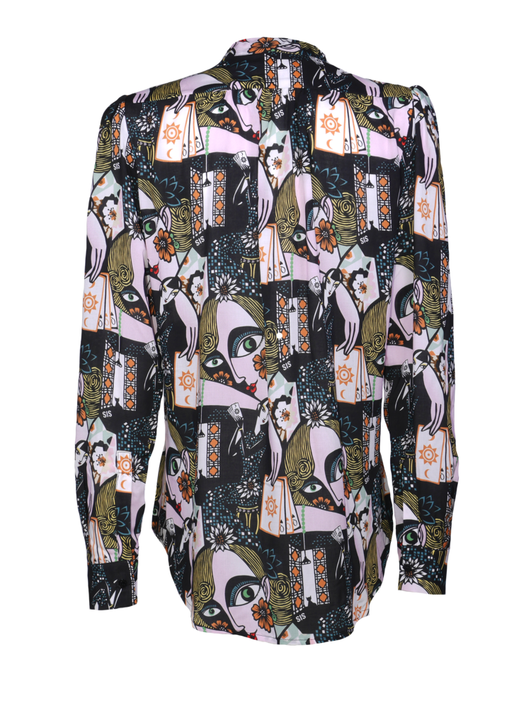 blouse with print and bow