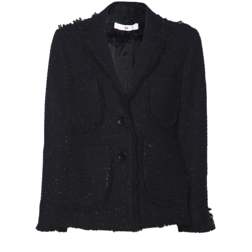 tweed blazer with woven lurex thread
