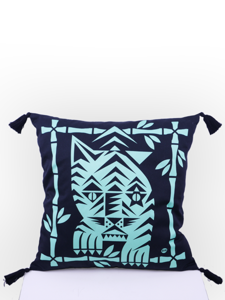 SIS by Spijkers en Spijkers Printed tiger pillow green