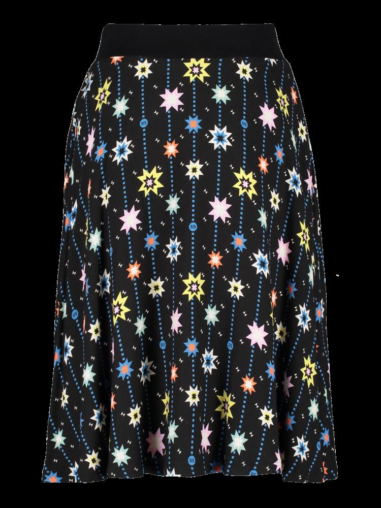Rib Button Skirt star print