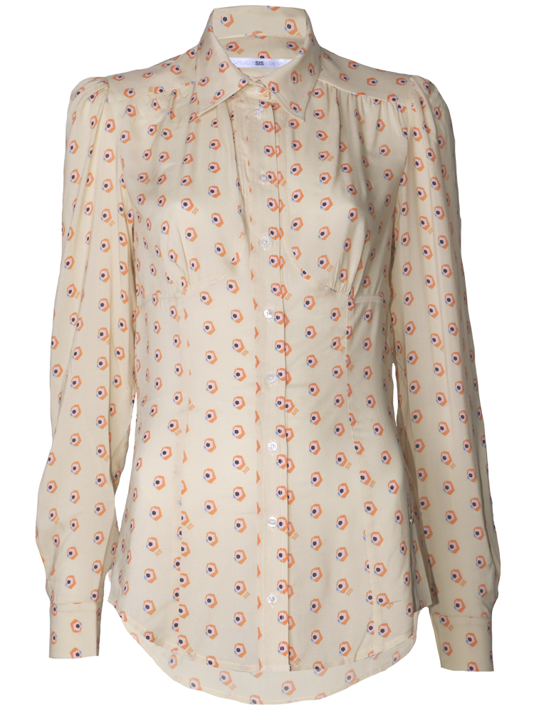 fitted blouse with print and cup detail
