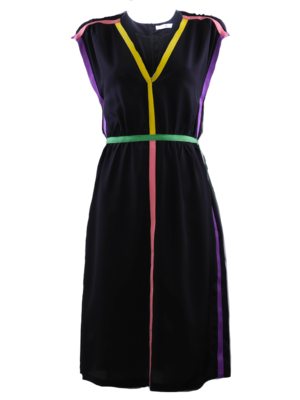 Black Dress with colored tapes in 4 colours