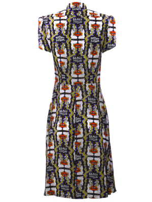 Waisted dress with puffy sleeve