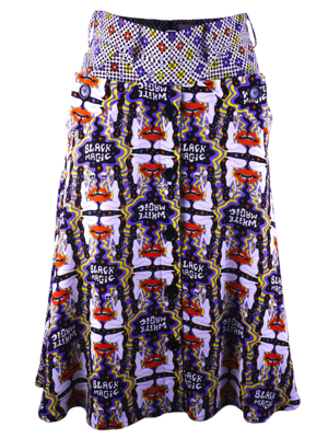 Wide skirt with decorative pockets