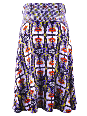 Wide skirt with decorative pockets in soft supple viscose