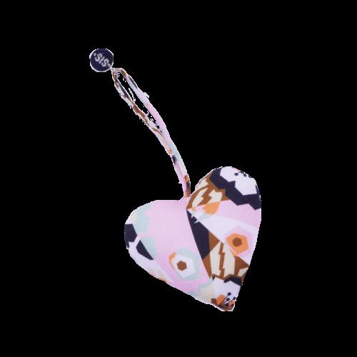 Keychain Heart Graphic Flower Pink