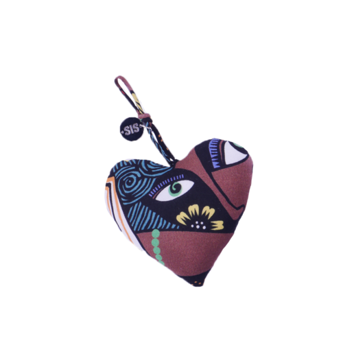 Keychain Heart With Papercut Face