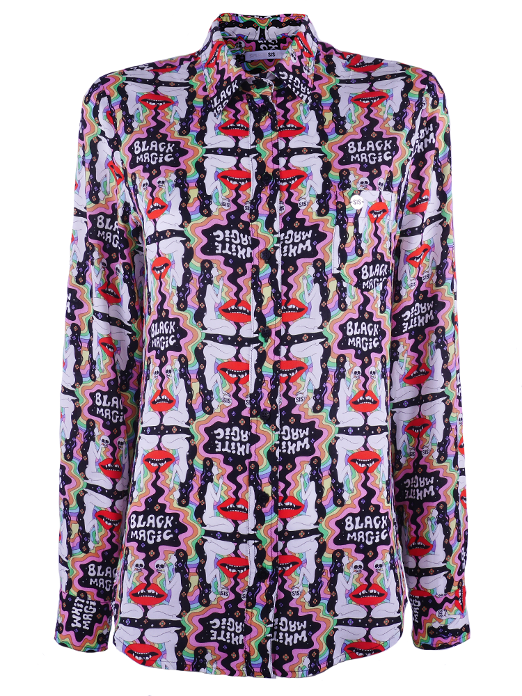 Classic blouse with chestpocket in soft supple viscose with Magic Rainbow print