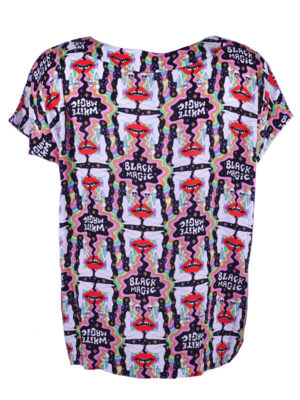 Boxy Top with two matching prints print, in soft supple viscose.