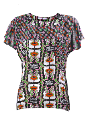 Boxy Top with two matching prints print