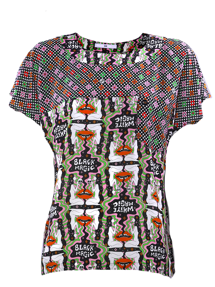 Boxy Top with two matching prints print, in soft supple viscose
