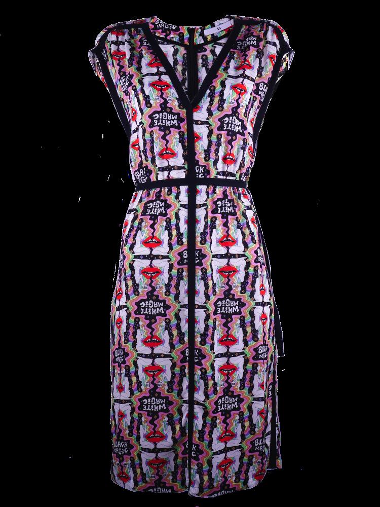 Dress with black herringbone tape