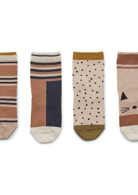 Liewood Silas cotton sock 4pack Rose multi mix