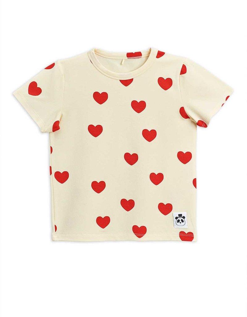 Mini Rodini Hearts ss tee offwhite