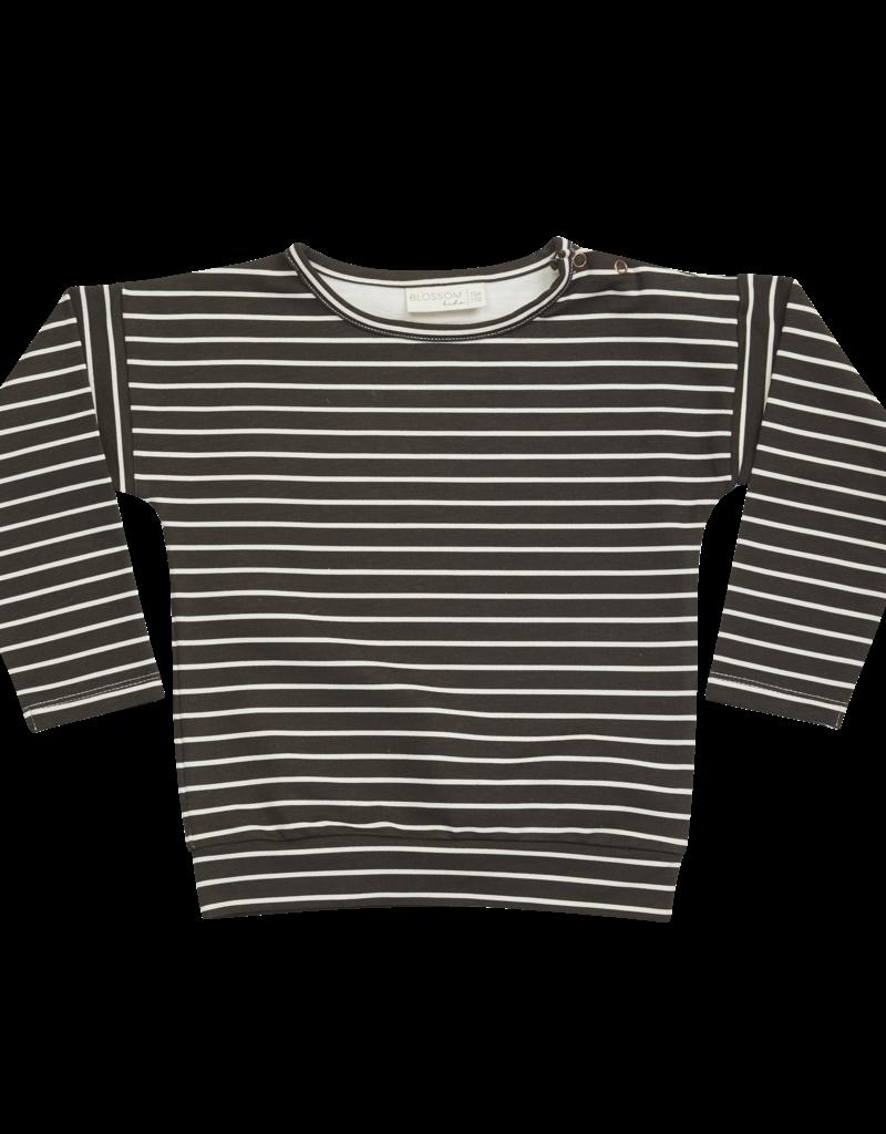 Blossom Kids Longsleeve petit stripe Expresso black
