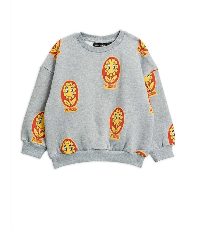 Mini Rodini Flower sweatshirt grey melange