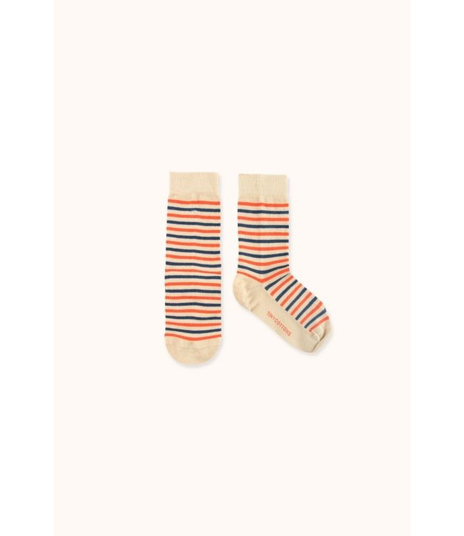 Tiny Cottons Stripes high socks ultra cappuchino/lightnavy/red