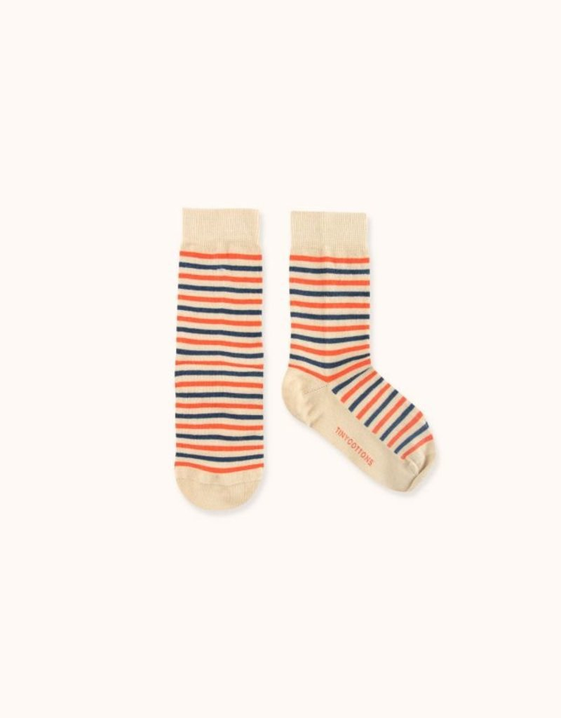 Tiny Cottons Stripes high socks ultra cappuchino/lightnavy/red