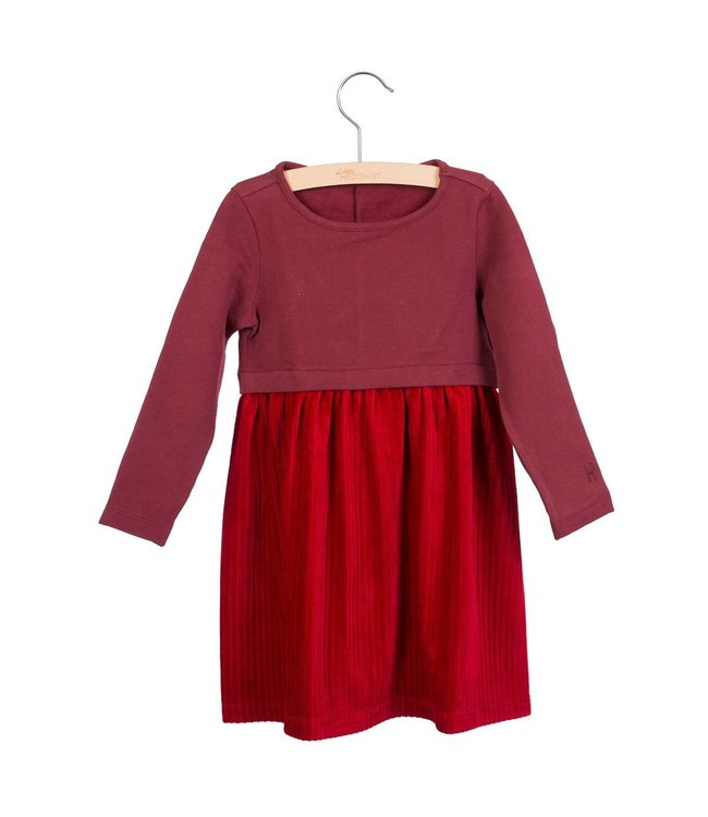 Little Hedonist Pleated dress Stevie Red Cordovan