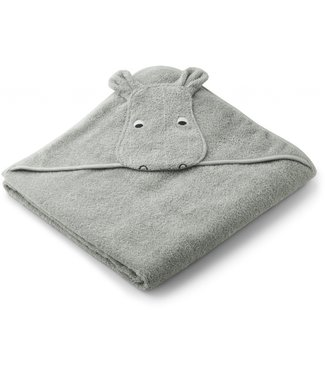 Liewood Augusto hooded towel Hippo dove blue