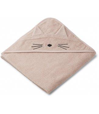 Liewood Augusto hooded towel Cat Rose