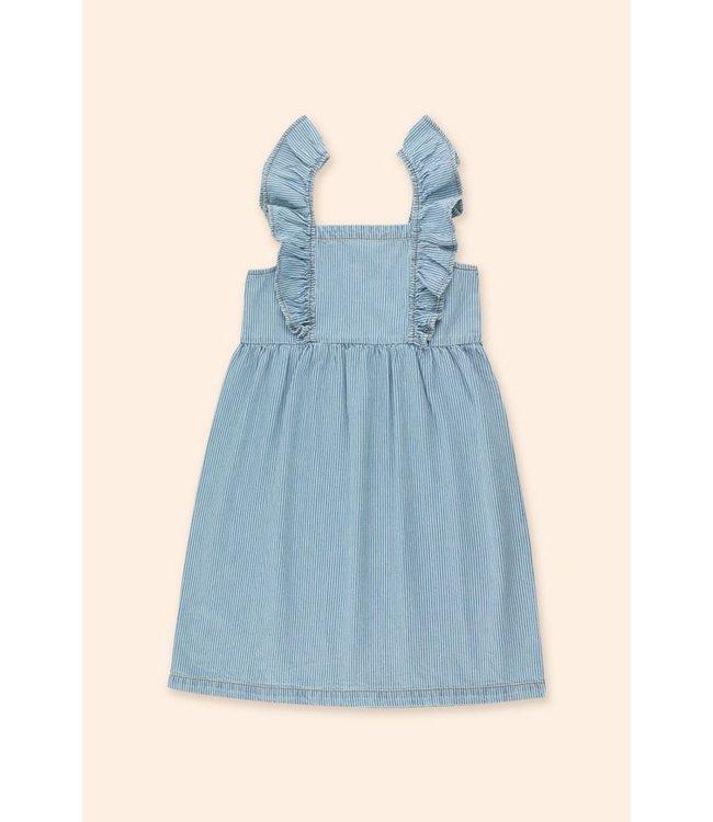Tiny Cottons Striped denim frills dress