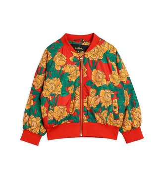 Mini Rodini Peonies baseball jacket Red