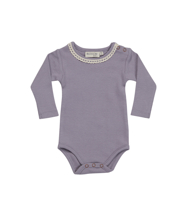 Blossom Kids Body long sleeve w. Lace Lavender grey