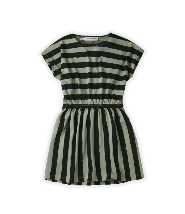 Sproet & Sprout Skater dress Painted Stripe Eucalyptus