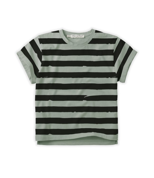 Sproet & Sprout T-shirt Painted Stripe Eucalyptus